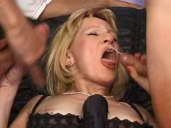 Naughty granny gets double cumload