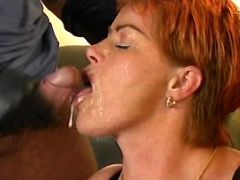 Busty milf gets facial after group