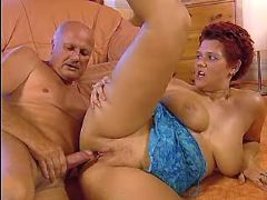 Busty hot milf fucks with aged man