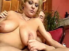 Busty mature fucks on sofa n floor