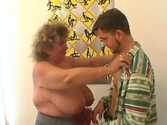 Busty granny tempts guy