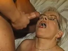 Old plumper gets cum from horny guy