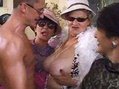 Old vixens enjoy males striptease