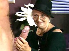 Lustful grandma enjoys oral in cafe
