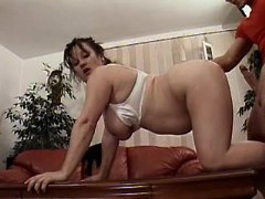 Chubby housewife gets fuck on table