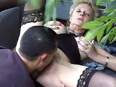 Granny licked and fucked in nature
